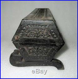 Antique Old Collectible Rare Hand Carved Flower Design Wooden Bangle jewelry Box