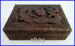 Antique Old Rare Beautiful Dragon Figure Hand Engraved Wooden jewelry Money Box