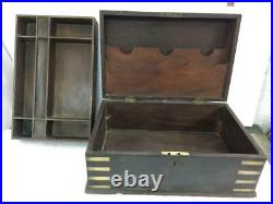 Antique Old Rare Handmade Brass Fitted Big Size, Heavy Wooden Cash / Jewelry Box
