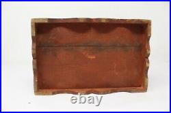 Antique Old Wooden Hand Painted Brass Floral Work Chest Box 1 Drawer Jewelry Box
