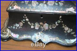 Antique Papier Mache Black Lacquered Jewelry Chest Box Mother of Pearl 9 x 12