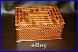 Antique Parquetry Inlaid Wooden Velvet Lined Flip-Lid 13 Jewelry Box with Key