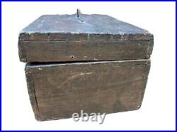 Antique Primitive Wooden Box Chest Box Old Jewelry Tools Vintage Handmade W Tray