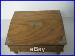 Antique Primitive Wooden Jewelry Box Secret Drawers Brass Accents Hinged Footed
