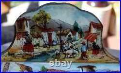 Antique Reverse Painting Wooden Jewelry Box Latin American Village Artist Signed