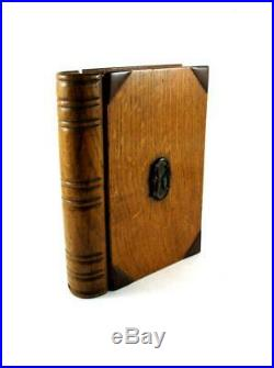 Antique Secret Book Shape Carved Wooden Box Jewellery Drawer c1900 Initial K