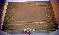 Antique Sewing / Work / Jewellery Box Fitted Interior With Working Lock & Key
