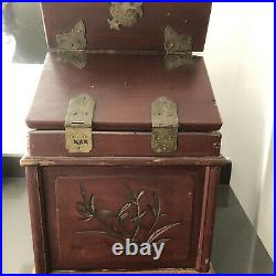 Antique Signed Wooden Chinese Jewelry Box With Mirror & Brass 2- drawer Shanghai