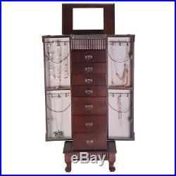 Antique Style Jewelry Cabinet Chest of Drawers Storage Armoire Box Mirror Stand
