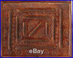 Antique Tooled Leather Clad Wooden Box Handcrafted Trinkets Jewelry Cards
