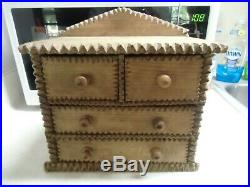 Antique Tramp Prison art wooden spice cabinet drawers box jewelry handmade N/R