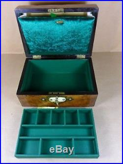 Antique Victorian Burr Walnut Neo-gothic Jewellery/sewing Box. C1830-1840 (c481)