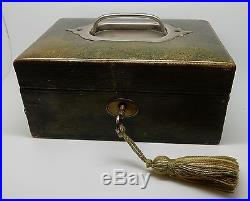 Antique Victorian English Green Leather Jewelry Box with Key