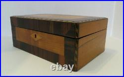 Antique Victorian Hand Made Inlay Wooden Jewelry / Curio Compartmentalized Box