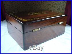 Antique Victorian Rosewood Mother Of Pearl & Abalone Inlaid Jewellery Box