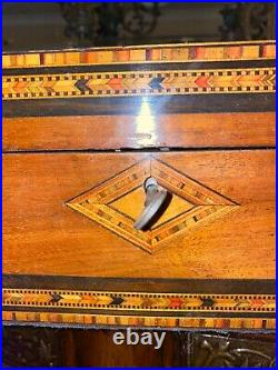 Antique Victorian Wooden Box/ Jewellery Box/with Key