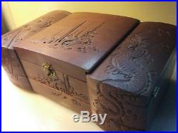 Antique Vintage Asian Chinese Japanese Wooden Jewelry Box Hand Carved