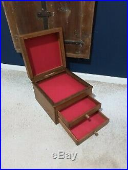 Antique Vintage Hand made Jewellery Display Drawers Chest Case Wooden Box Safe