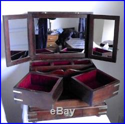 Antique Vintage Indian Colonial Style Wooden Vanity Box Jewellery Box