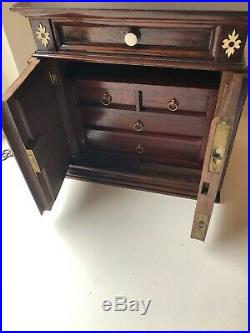 Antique/Vintage Ornate Wooden Jewellery Cabinet With Internal Drawers Lockable