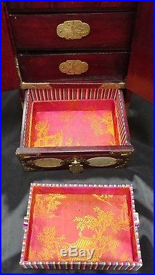 Antique Vintage Rosewood Brass Oriental Jewelry Box MUST SEE