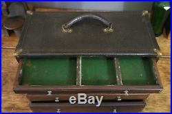 Antique Vintage Wood 5 Drawer Machinist Chest Jewelry Tool Box Wooden Case Watch