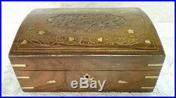 Antique Vtg Wooden Jewelry Box withEngraved Flowers Brass Hardware Circa 1900's
