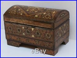 Antique Wood Jewelry Box, Middle Eastern Wooden Chest Jewellery Box Storage