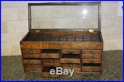 Antique Wooden 20 Drawer Thread Notions Sewing Jewelry Watch Cabinet Display Box