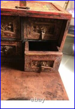 Antique Wooden Box From India, Jewelry, Apothecary, Trinkets