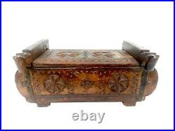 Antique Wooden Box Hand Made Carved Unique Trinket Jewelry Box Home Décor & Gift