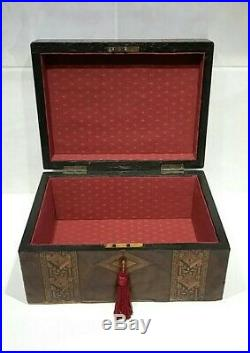 Antique Wooden Box with Key Antique Jewellery Box Document Box Stunning Inlay