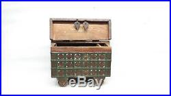 Antique Wooden Brass Iron Fitted Treasure Chest Trinket Jewellery Box On Wheel M