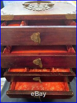 Antique Wooden Chinese Jewelry Case With Jade Decor and Storage Box