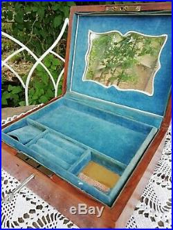 Antique Wooden Jewellery Box Exotic Wood Inlaid Brass Parquetry With Key C 1910