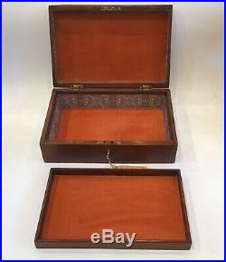Antique Wooden Jewellery Box With Inlay, Refurbished Interior, Lock & Key
