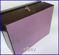 Antique Wooden Jewellery Box Working Lock And Key Re-lined