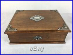 Antique Wooden Jewellery / Stationery Box, With Silvered / Metal Mounts