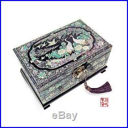 Antique Wooden Jewelry Box Design with Mother-of-Pearl Entirely Handmade Gifts