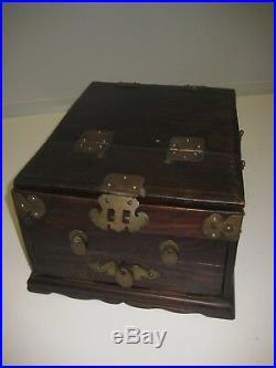 Antique Wooden Jewelry Box With Mirror and Drawers