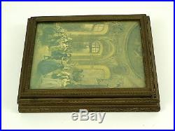 Antique Wooden Jewelry Box w Neoclassical Picture Framed on Top Mirror on Bottom