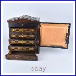Antique Wooden Jewelry Box with Brass Mountings
