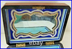 Antique Wooden Mother of Pearl Butterfly Inlay Jewelry Sewing Box Mirror & Lock