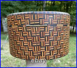 Antique Wooden Round Parquetry Jewelry Box Geometric Star Pattern Inlaid Wood