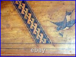 Antique Wooden Swiss Musical Jewelry Box Inlaid Birds Reuge O Sole Mio