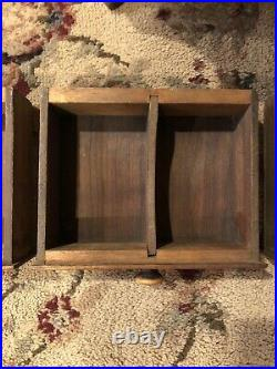 Antique Wooden Three Drawer Jewelry Box