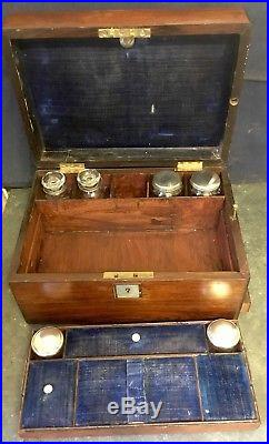 Antique Wooden Vanity Work Jewellery Sewing Box Fitted Interior Lower Drawer 12