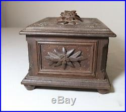 Antique ornate 1800's hand carved wooden German Black Forrest jewelry puzzle box