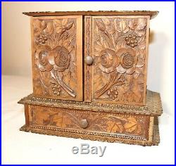 Antique ornate hand carved German black forrest wooden flower jewelry box