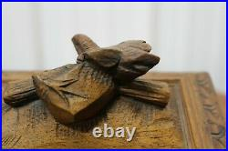 Antique victorian small wooden hand carved trinket jewelry vanity box bird